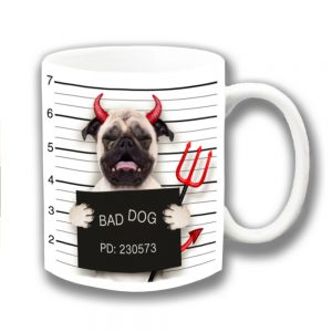 Pug Dog Coffee Mug Fawn Devil Horns Jail Mug Shot