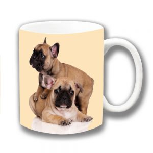 French Bulldogs Coffee Mug Two Fawn Puppies Playing