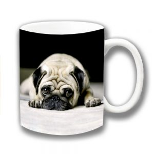 Pug Dog Coffee Mug Fawn Dog Laying Down Resting