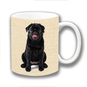 Pug Dog Coffee Mug Black Puppy Beige Texture Ceramic