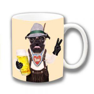 Pug Dog Coffee Mug Bavarian Lederhosen Bier Tankard