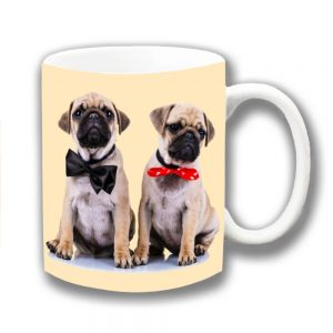 Pug Dogs Coffee Mug Two Fawn Pug Puppies Bow Ties
