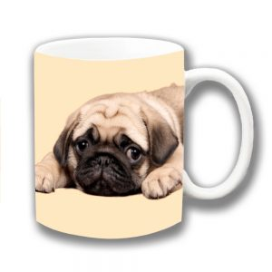 Pug Dog Coffee Mug Fawn Puppy Laying Down Ceramic