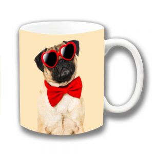 Pug Dog Coffee Mug Fawn Red Heart Sunglasses Bow Tie