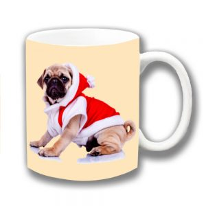 Pug Dog Coffee Mug Fawn Puppy Christmas Santa Coat