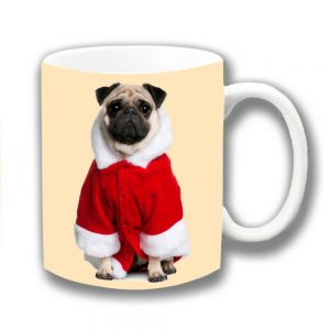 Pug Dog Coffee Mug Fawn Christmas Santa Coat Ceramic