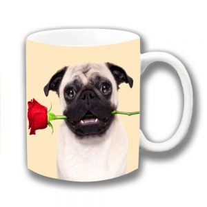 Pug Dog Coffee Mug Fawn Red Rose Love Romance Cream