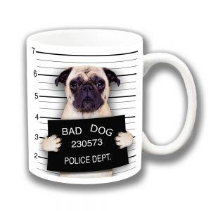 Pug Dog Coffee Mug Fawn Bad Dog Jail Mug Shot