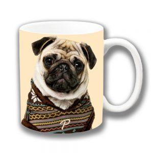Fawn Pug Dog Coffee Mug Dog Knitted Sweater Ceramic