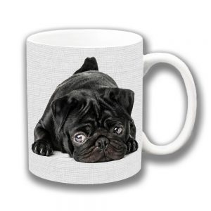 Black Pug Puppy Dog Coffee Mug Resting Grey Texture Ceramic