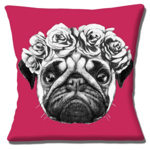 Pug Dog Cushion or Cushion Cover Black White Magenta Pink