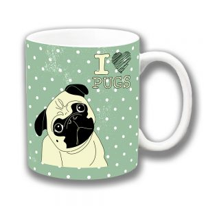Pug Dog Coffee Mug Cartoon I Love Pugs Message