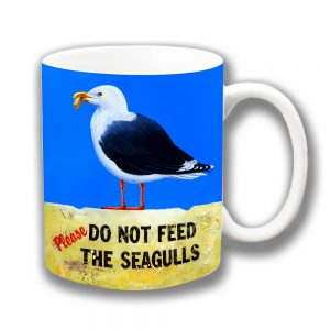 Seagull Coffee Mug Do Not Feed Mottled Vintage Retro