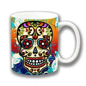 Mexican Sugar Skull Coffee Mug Orange Blue Multicolour