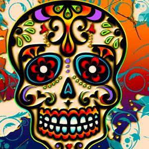 Mexican Sugar Skull Cushion or Cushion Cover Orange Blue Multicolour