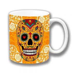 Mexican Sugar Skull Coffee Mug Orange White Filigree