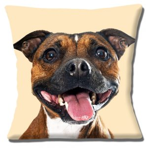 Staffordshire Bull Terrier Cushion or Cushion Cover Brown White