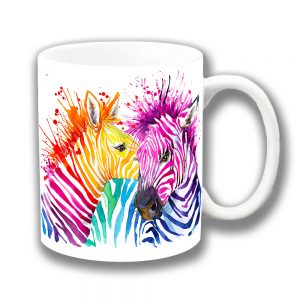 Two Zebra Coffee Mug Bright Colours Artistic Modern