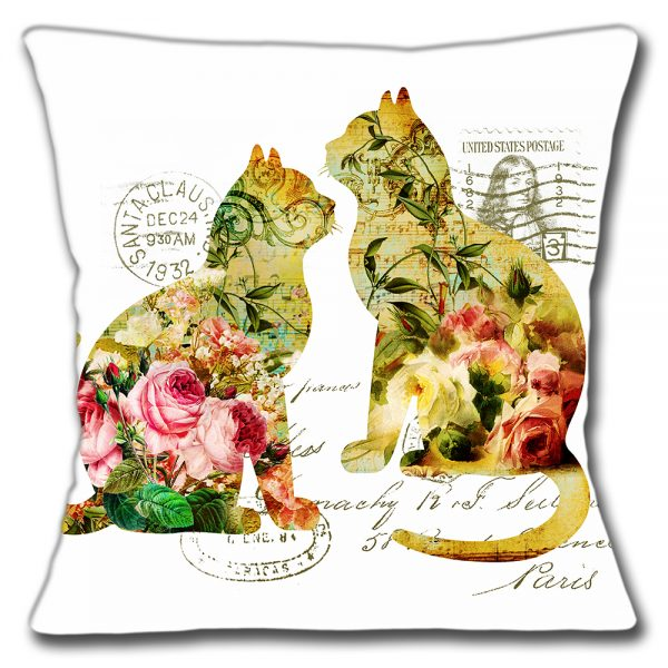 Shabby Chic Cats Cushion or Cushion Cover Vintage Silhouettes