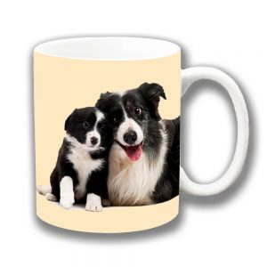 Border Collie Dog Coffee Mug Adult and Puppy Cuddling Ceramic
