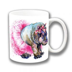 Hippo Coffee Mug Pink Tutu Artistic Modern