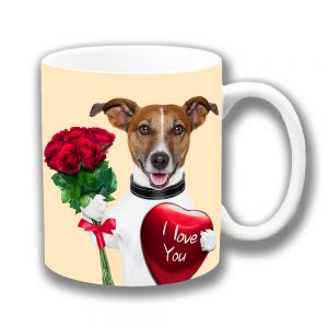 Jack Russell Dog Coffee Mug Red Roses Heart Love