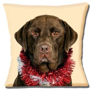 Chocolate Labrador Dog Cushion or Cushion Cover Red Christmas Tinsel
