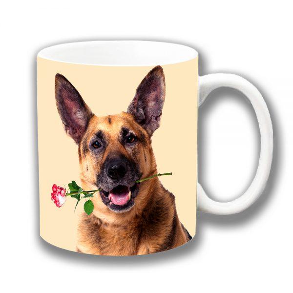 German Shepherd Dog Coffee Mug Tan Black Cream Pink Rose