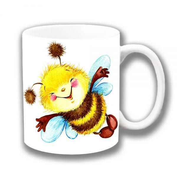 Bumble Bee Coffee Mug Cute Smiley Artistic Modern Ceramic