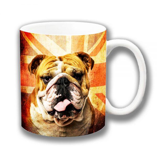 English Bulldog Coffee Mug Vintage Retro Union Jack