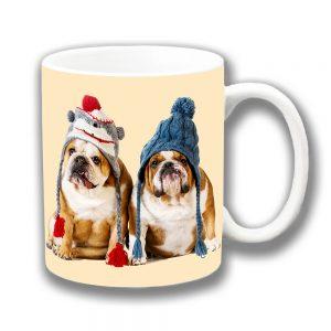 English Bulldogs Coffee Mug Winter Woolly Knitted Hats