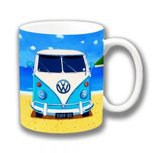 Blue Camper Van Coffee Mug Vintage Retro Beach Holiday