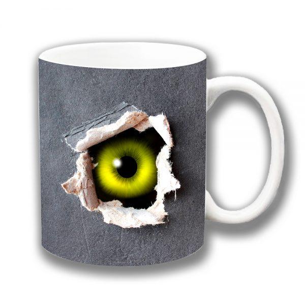 Scary Eye Coffee Mug Green Yellow Peeping Ceramic