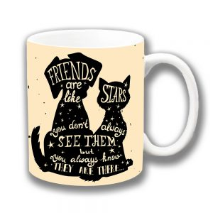 Friends Message Coffee Mug Dog Cat Silhouettes Stars
