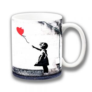 Banksy Graffiti Art Coffee Mug Hope Girl Heart Red Balloon