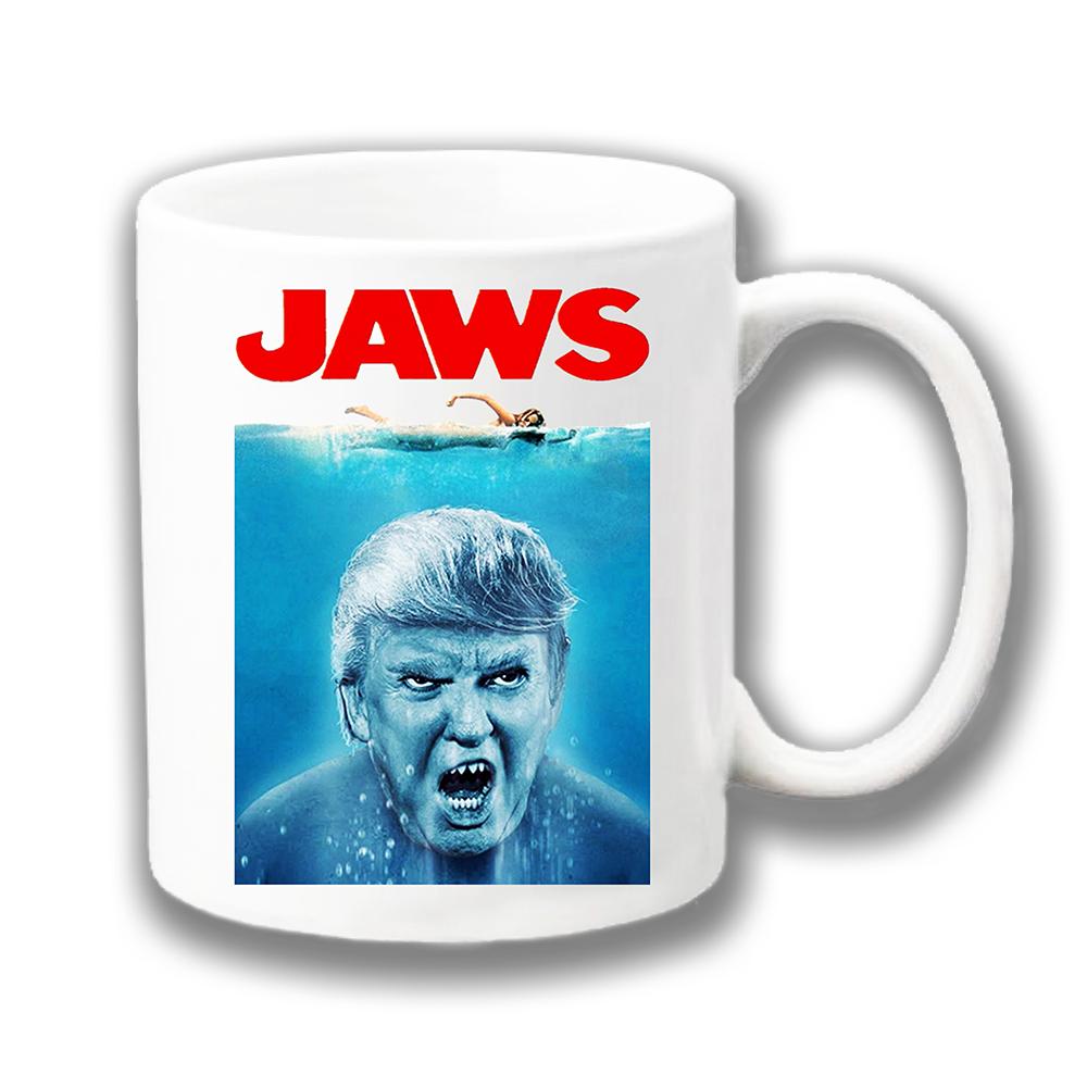 e8df16841f8 Donald Trump Coffee Mug Funny Jaws Shark Film Adaptation