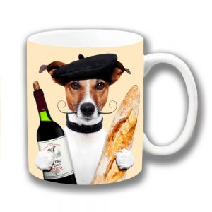 Jack Russell Coffee Mug French Baguette Moustache Wine Beret