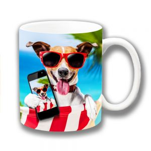 Jack Russell Coffee Mug Holiday Selfie Sunglasses Sea Palm Trees