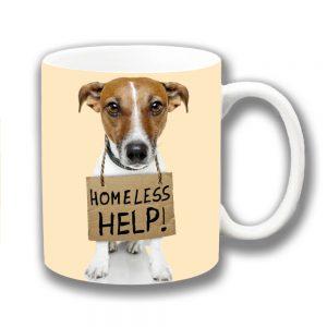 Jack Russell Coffee Mug Tan White Dog Homeless Help Sign