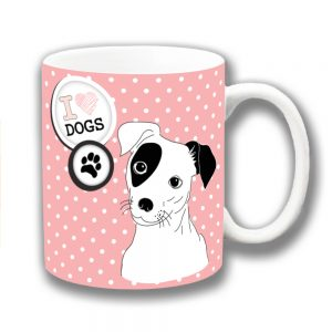 Jack Russell Coffee Mug Pink White Polka Dot I Love Dogs