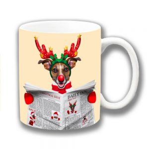 Jack Russell Coffee Mug Christmas Reindeer Antlers Newspaper