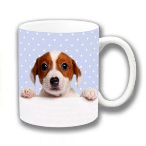 Jack Russell Coffee Mug Blue Polka Dot Tan White Puppy