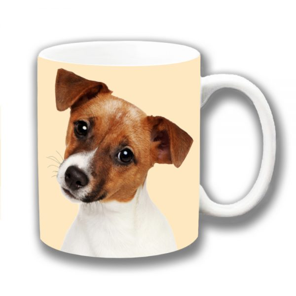 Jack Russell Coffee Mug Tan White Young Dog Head Cocked