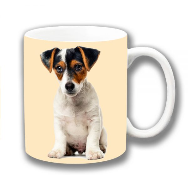 Jack Russell Coffee Mug White Tan Black Puppy Dog Ceramic