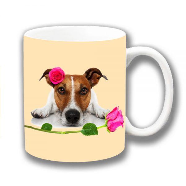 Jack Russell Coffee Mug Tan White Pink Roses Romance Valentine