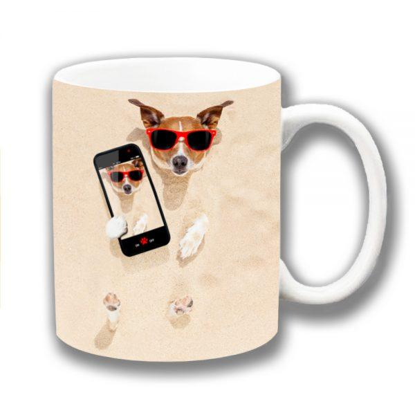 Jack Russell Coffee Mug White Tan Selfie Buried Sand Beach
