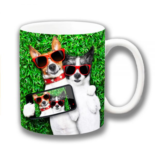 Jack Russells Coffee Mug Two Dogs Selfie Grass Lawn