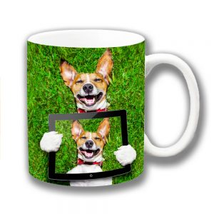 Jack Russell Coffee Mug Funny Dog Smiling Grass iPad Selfie
