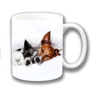 Jack Russells Coffee Mug Two Dogs Cuddling Sleeping
