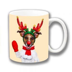 Jack Russell Coffee Mug Christmas Reindeer Antlers Waving